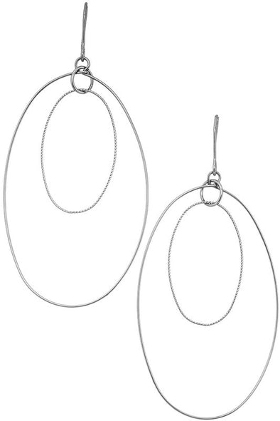 Stacked Oval Earrings -Silver