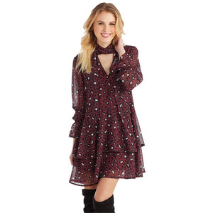 Decklan Chiffon Flounce Dress in Burgundy Leopard Print