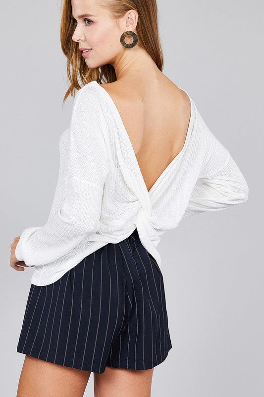 Waffle Knit Top Long Sleeve Back Knot Sweater - Off White