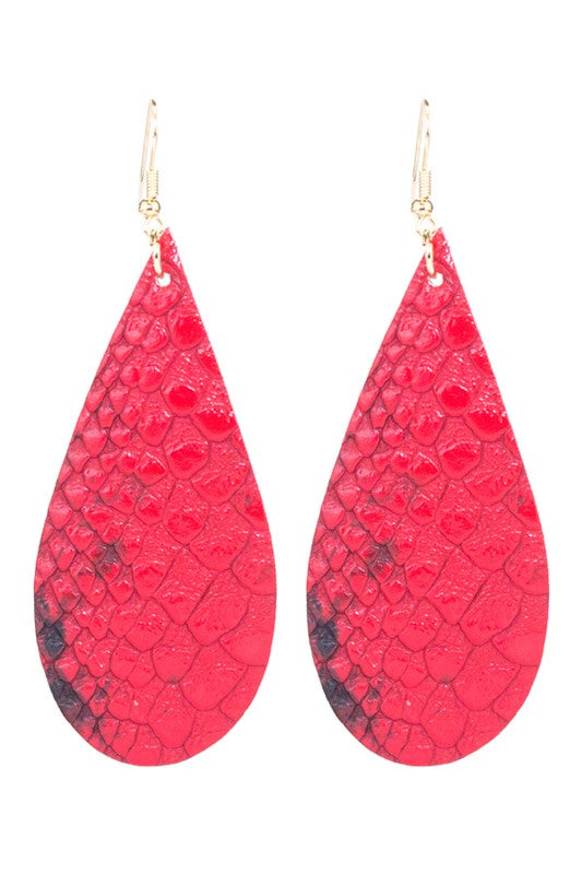 The Drop Snake Skin Earring - Red
