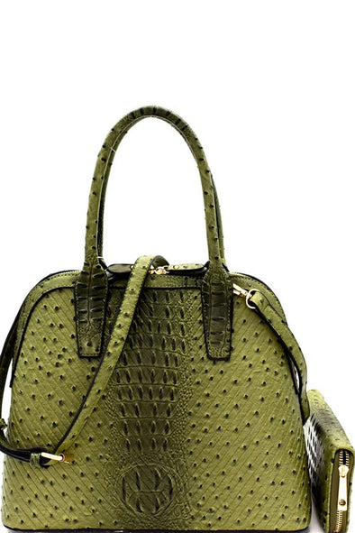 Ostrich Embossed Chevron Pattern Satchel