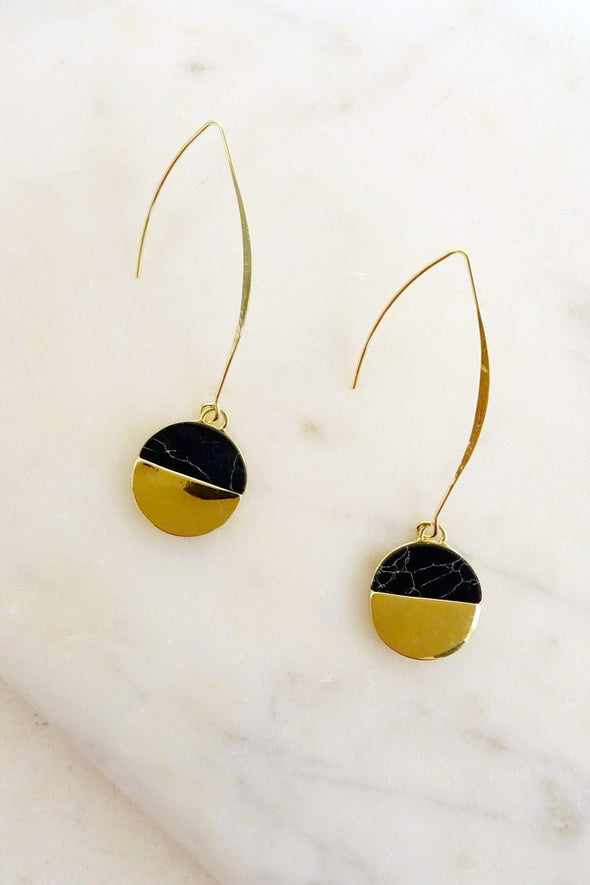Linear Stone Disc Earring