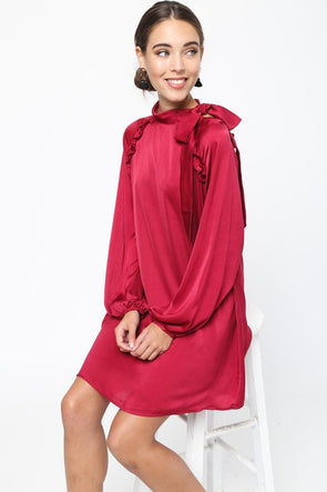 Take The Night Off Dress - Burgundy