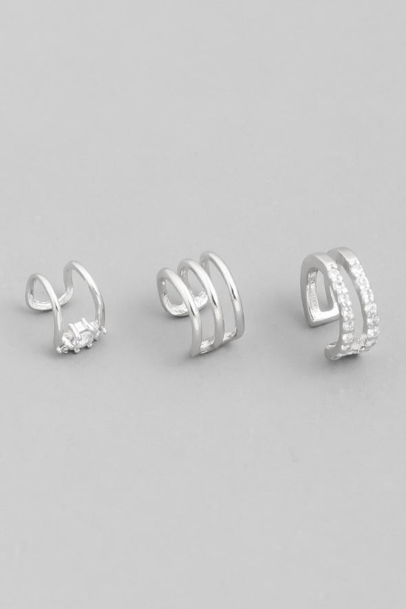 Kaitlin Mini Triple Band Ear Cuffs Set - Silver