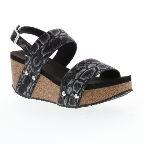 SummerLove Snake Embossed Wedge In Black