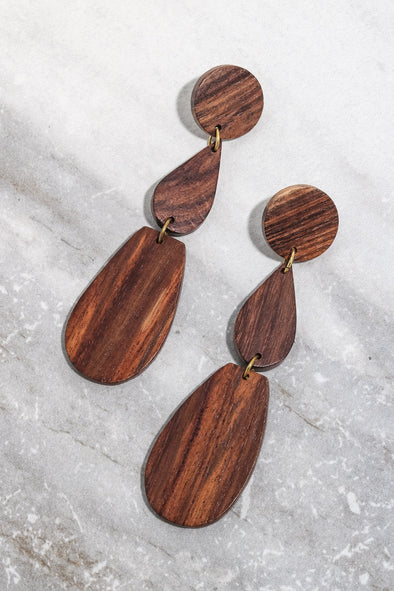 Tiered Flat Wooden Geo Earrings