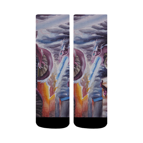 Watercolor Painting of Dragons Print Crew Socks | Custom Printed Socks