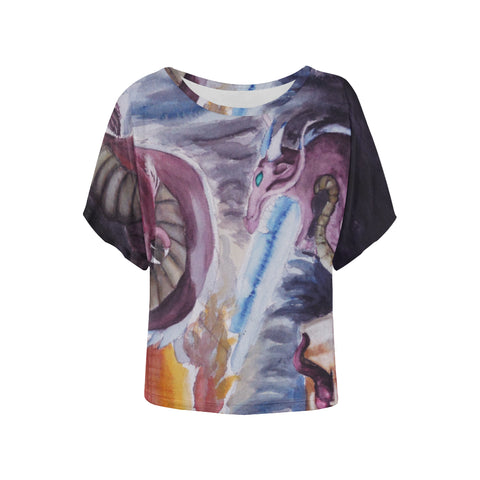 Dragons of Destruction All Over Women's Batwing Sleeve T-Shirt