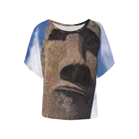 Easter Island Heads All Over Women's Batwing Sleeve T-Shirt
