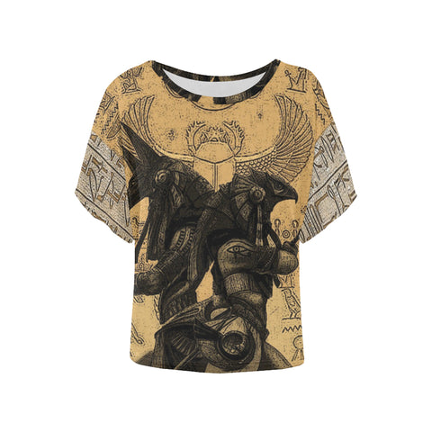 Anubis vs. Horus Drawing All Over Women's Batwing Sleeve T-Shirt