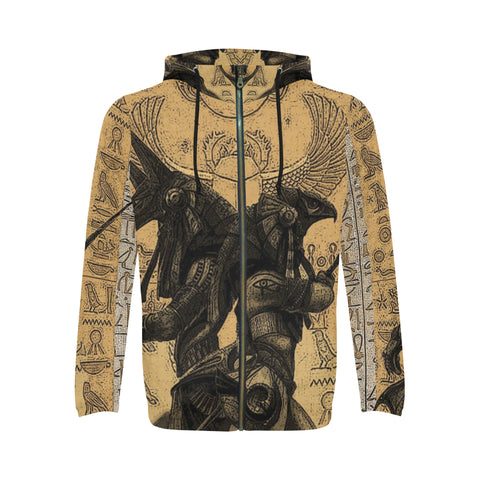 Anubis vs. Horus Drawing All Over Men's Zip Hoodie