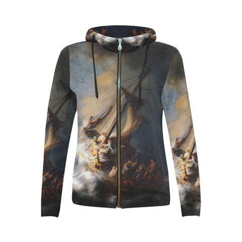 The Storm on the Lake of Galilee All Over Women's Zip Hoodie