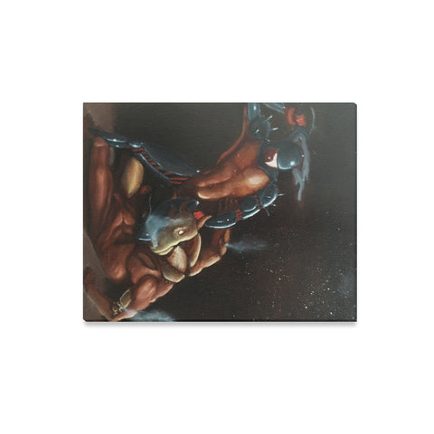 Minotaur vs. Theseus Oil Painting Canvas Wall Art Print