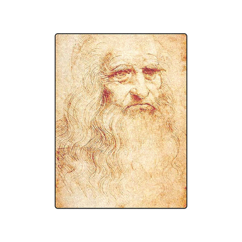 "50"" x 60"" Fleece Blanket - Self Portrait - Leonardo Da Vinci"