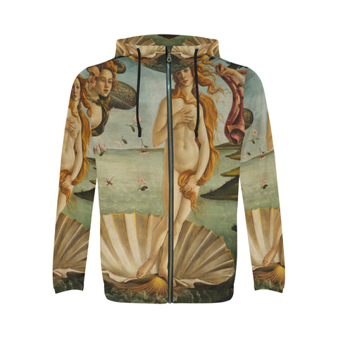 Birth of Venus All Over Men's Zip Hoodie