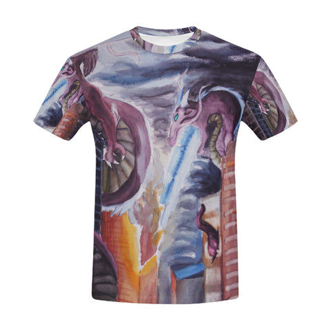 Dragon Watercolor Painting All Over Men's T-Shirt