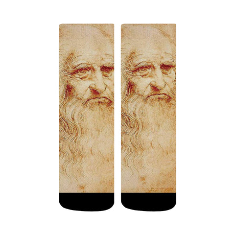 Leonardo Da Vinci Self Portrait Print Crew Socks | Custom Printed Socks