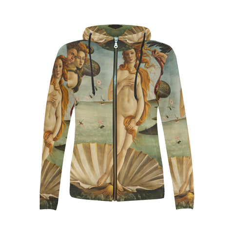 Birth of Venus All Over Women's Zip Hoodie