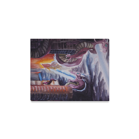 Dragon Watercolor Painting Canvas Wall Art Print