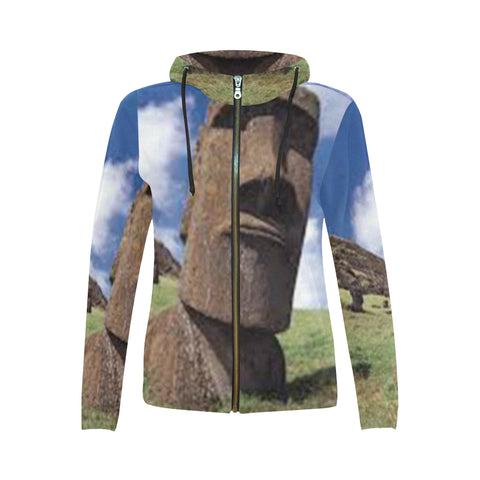 Easter Island Heads All Over Women's Zip Hoodie