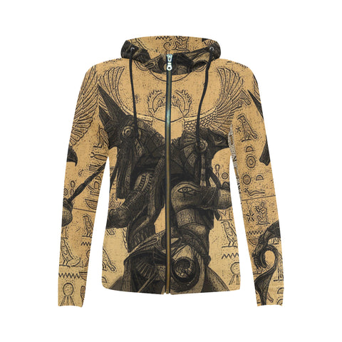 Anubis vs. Horus Drawing All Over Women's Zip Hoodie