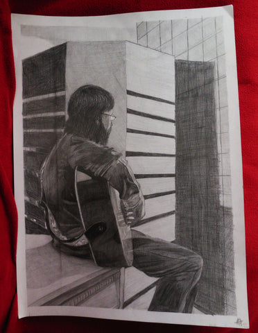 Drawing of a Man Playing Guitar