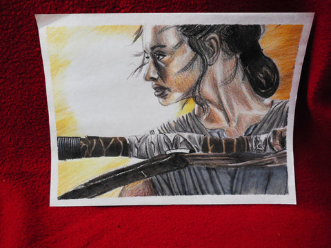 Prismacolor Drawing of Rey from Star Wars