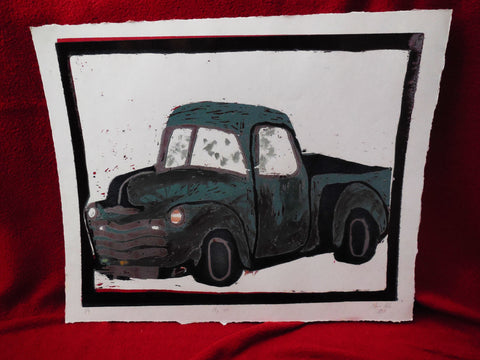 Multi Color Ink Print of a Truck