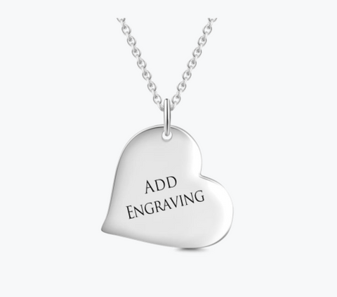 Engravable Heart Tag Necklace Silver