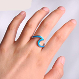 Fire Opal Wave Ring