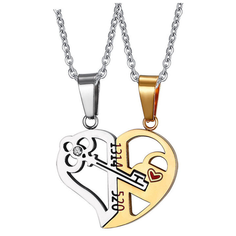 Her & His Heart Couple Necklace
