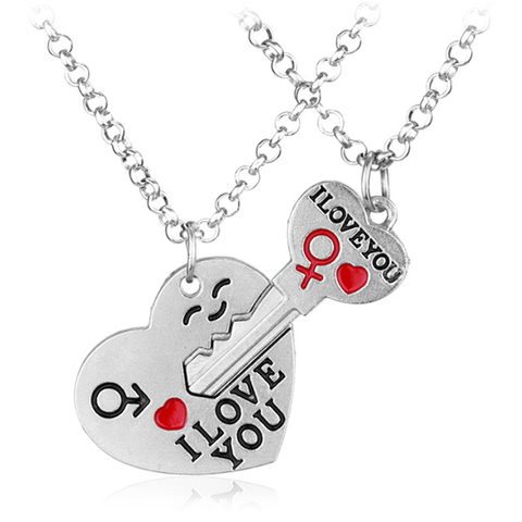 I Love You Key Heart Necklace