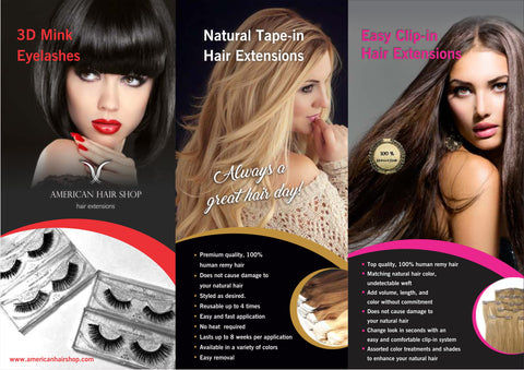 American Hair Shop Clip in Extensions, Tape in Extensions and 3D Mink Eyelashes