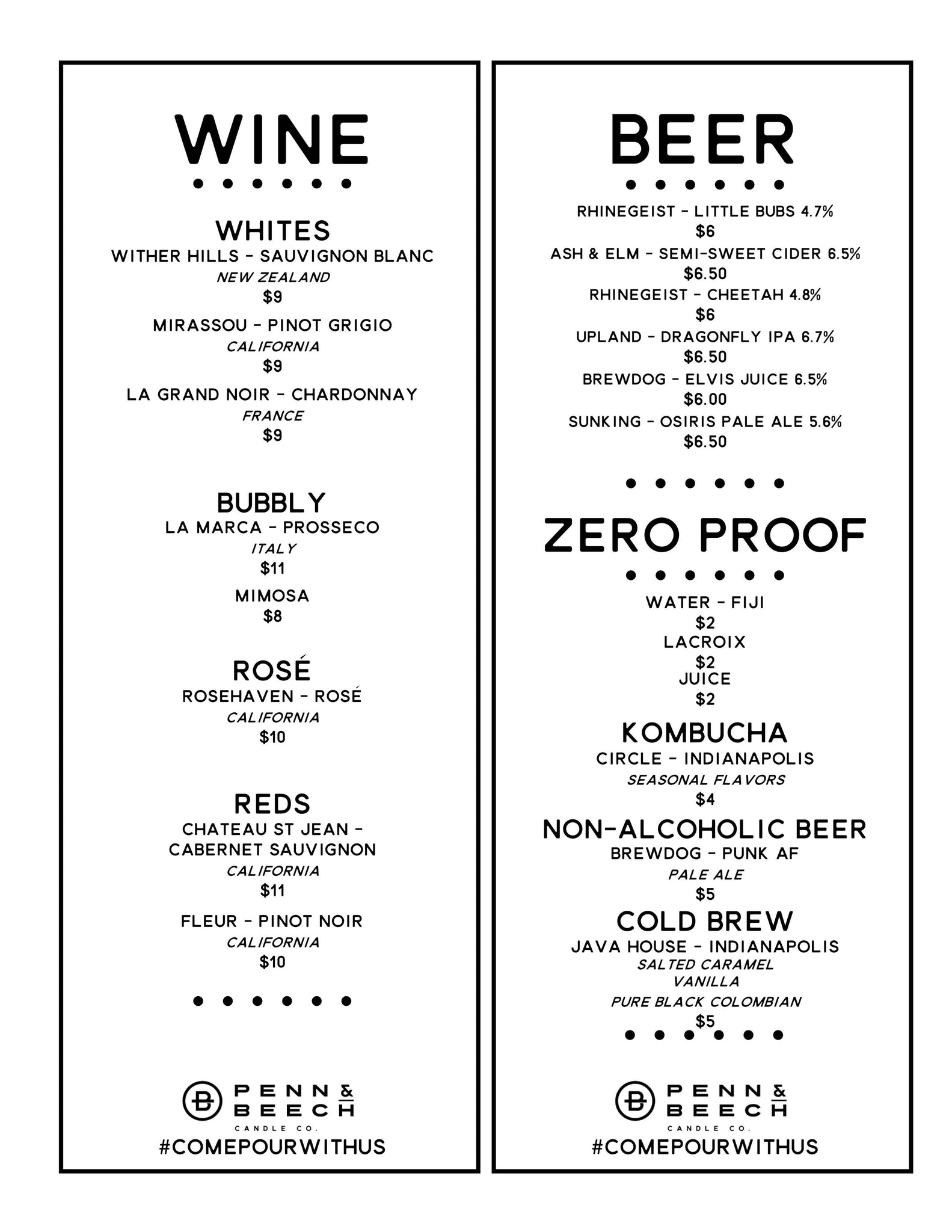 Penn and Beech beverage and drink menu