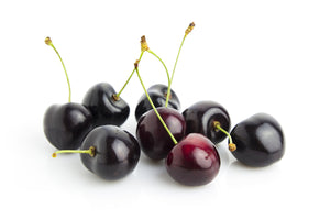 Black cherries with leaves