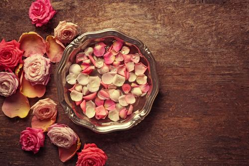 Rose petals gathered