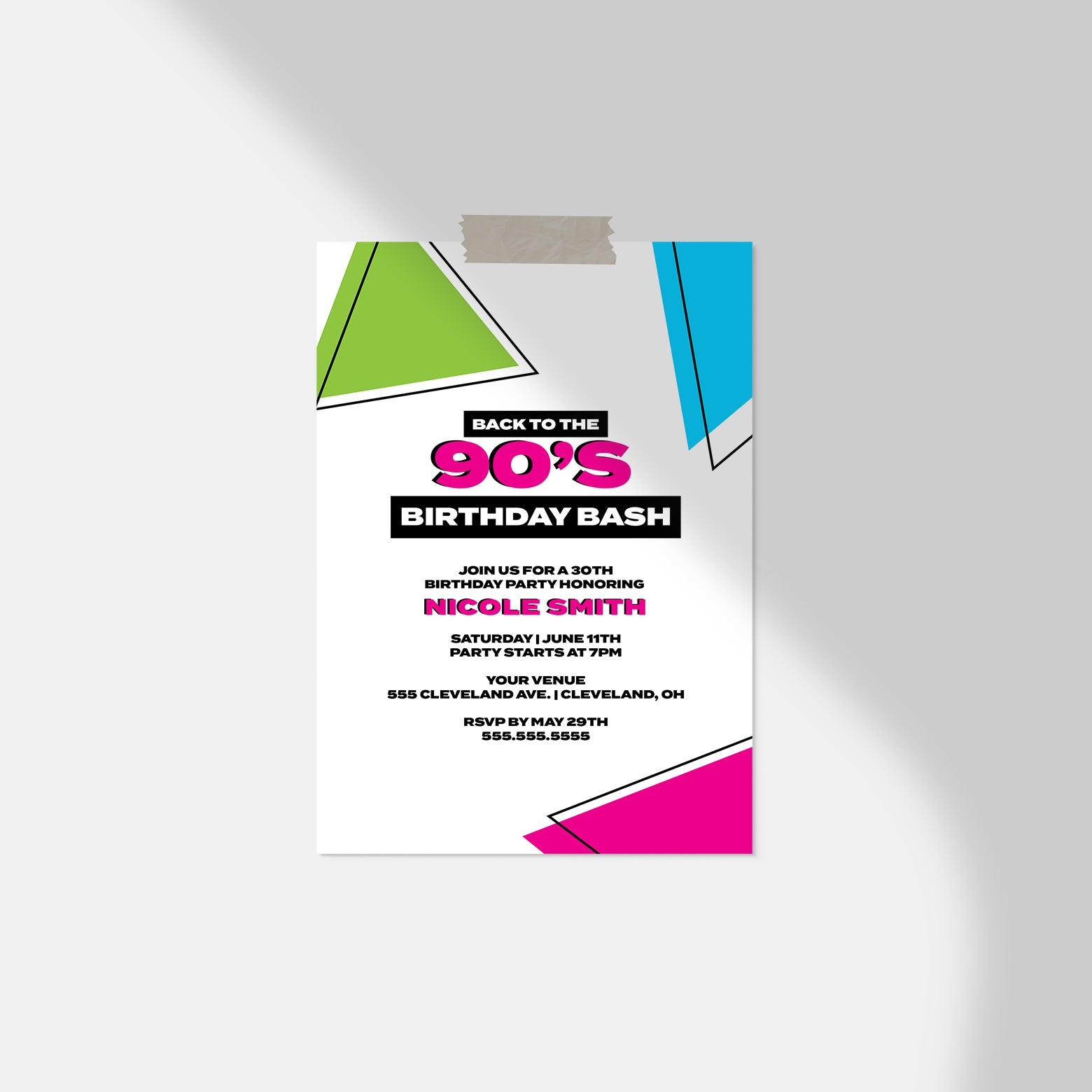 Back to the 90's Birthday Invitation - Blú Rose Designs