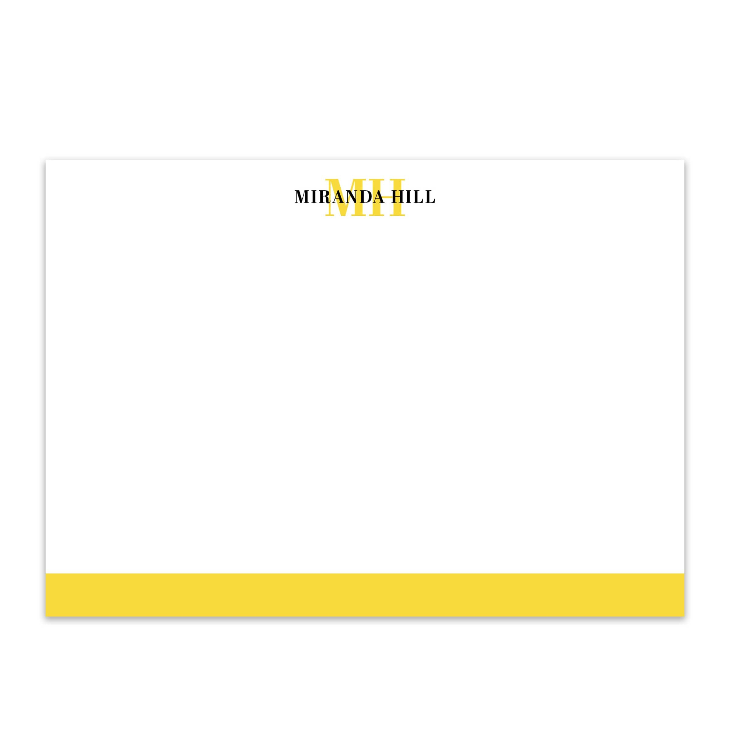 Bottom Color Bar Personalized Notecard
