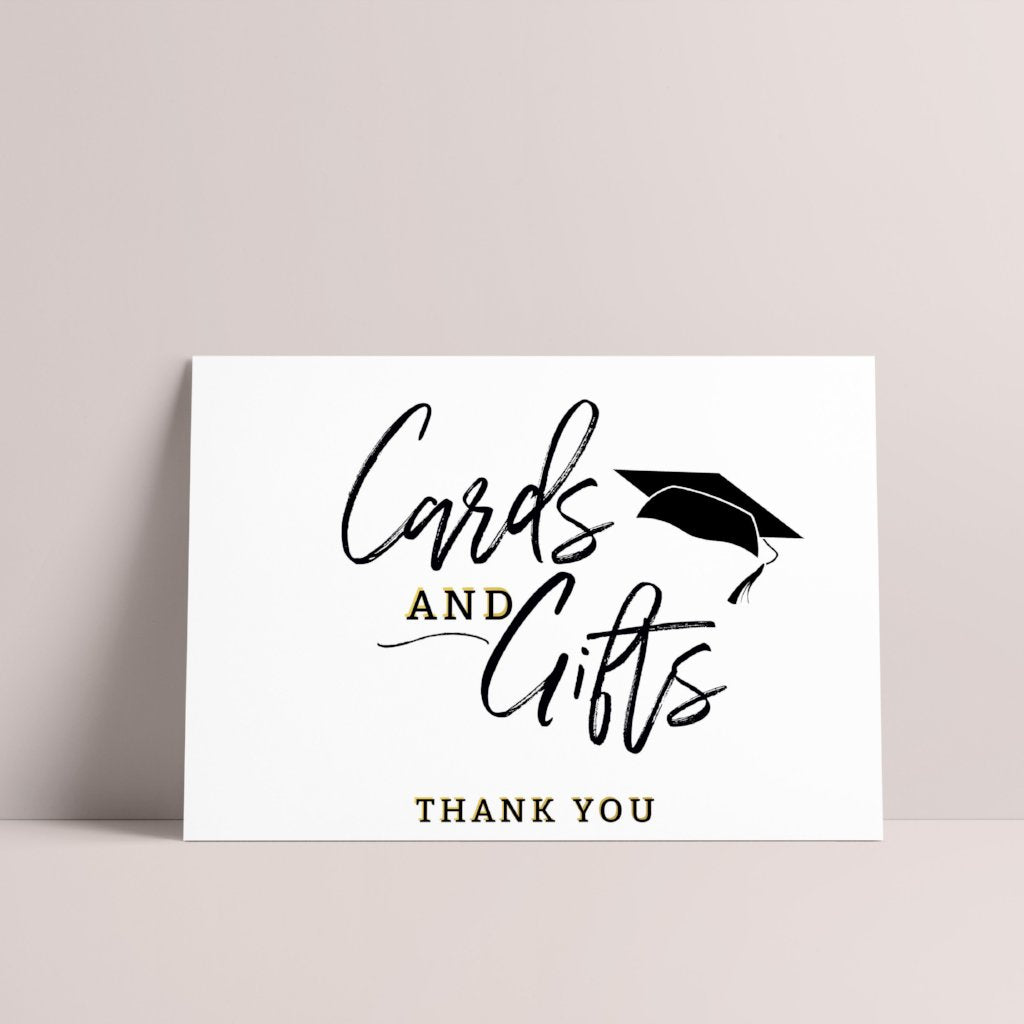 Modern Grad Cap Cards + Gifts Graduation Sign - Blú Rose Designs