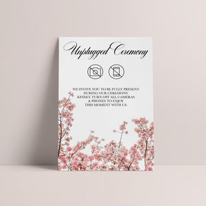 Cherry Blossom Unplugged Ceremony Sign - Blú Rose Designs
