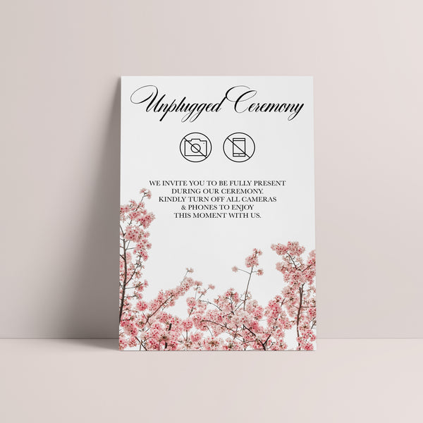Cherry Blossom Unplugged Ceremony Sign