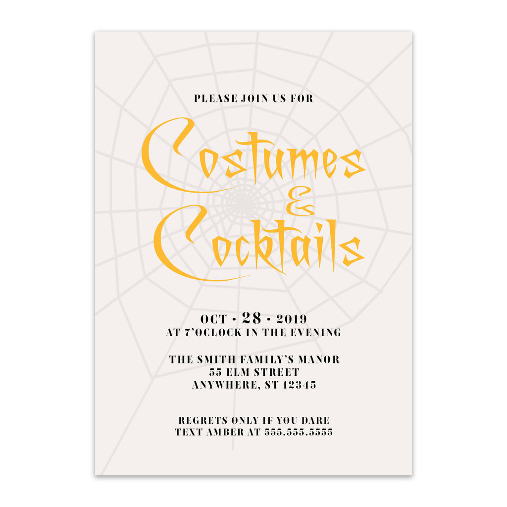 Modern Web Halloween Invitation - Blú Rose Designs