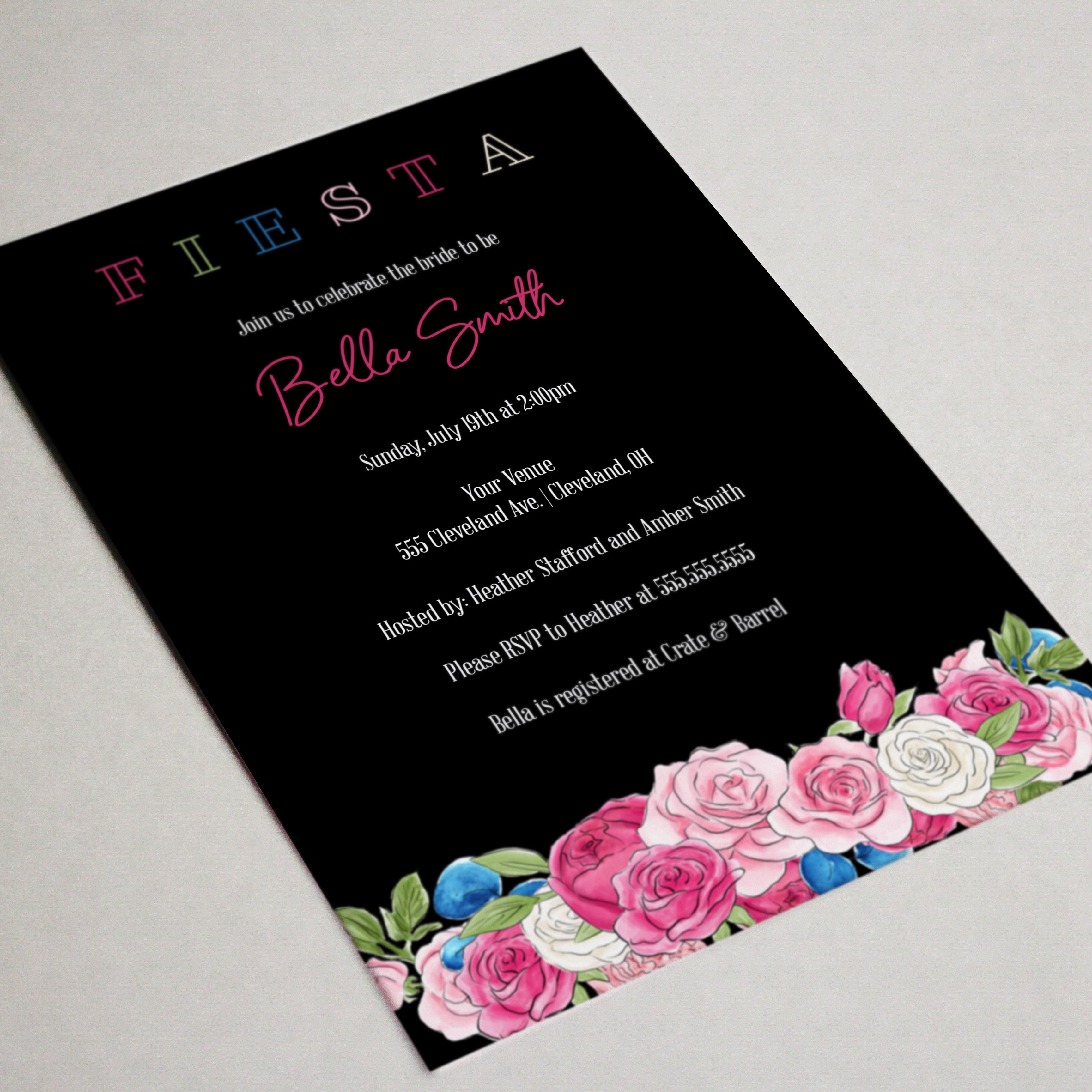 Fiesta Rose Bridal Shower Invitation - Blú Rose Designs