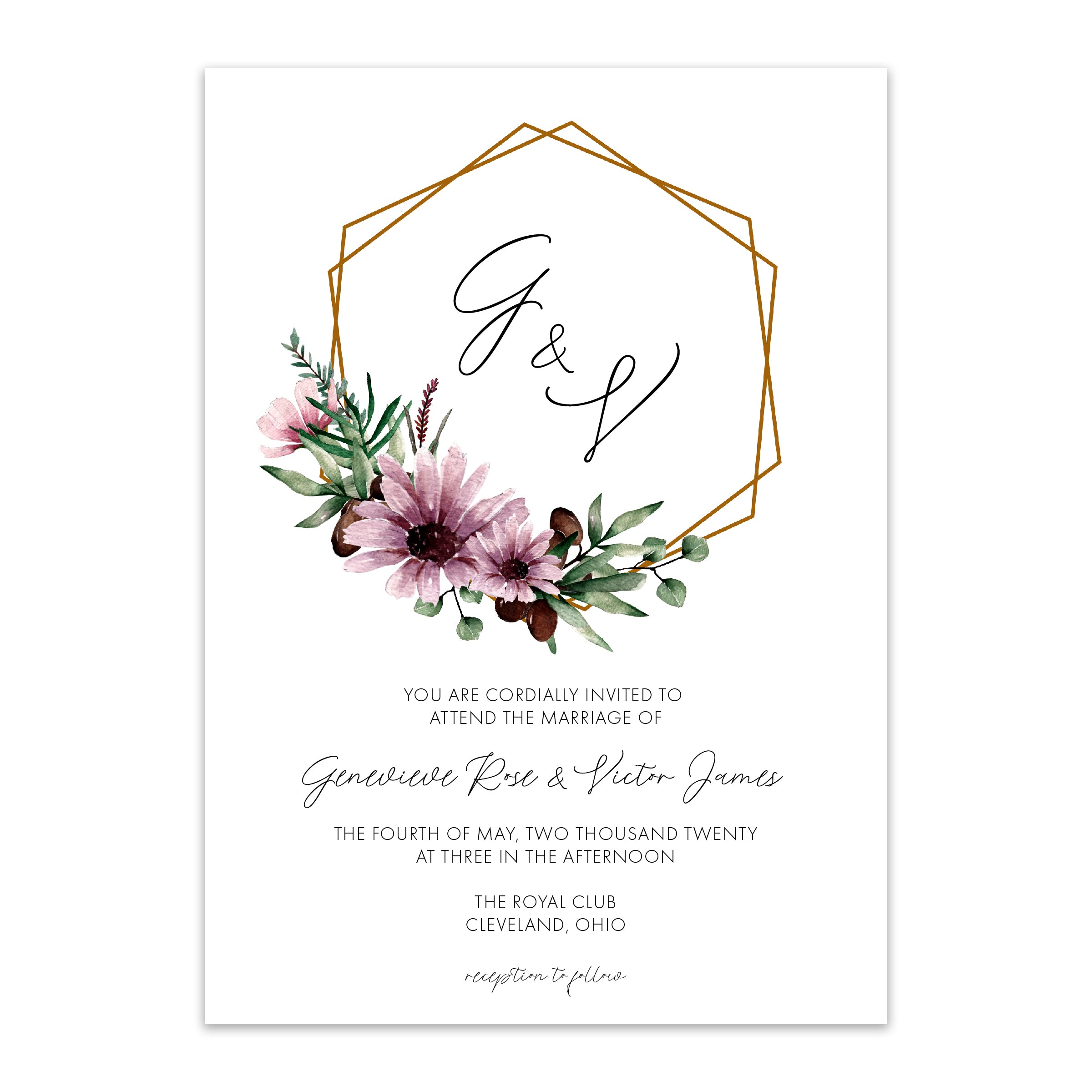 Genevieve Floral Wreath Wedding Invitation - Blú Rose Designs
