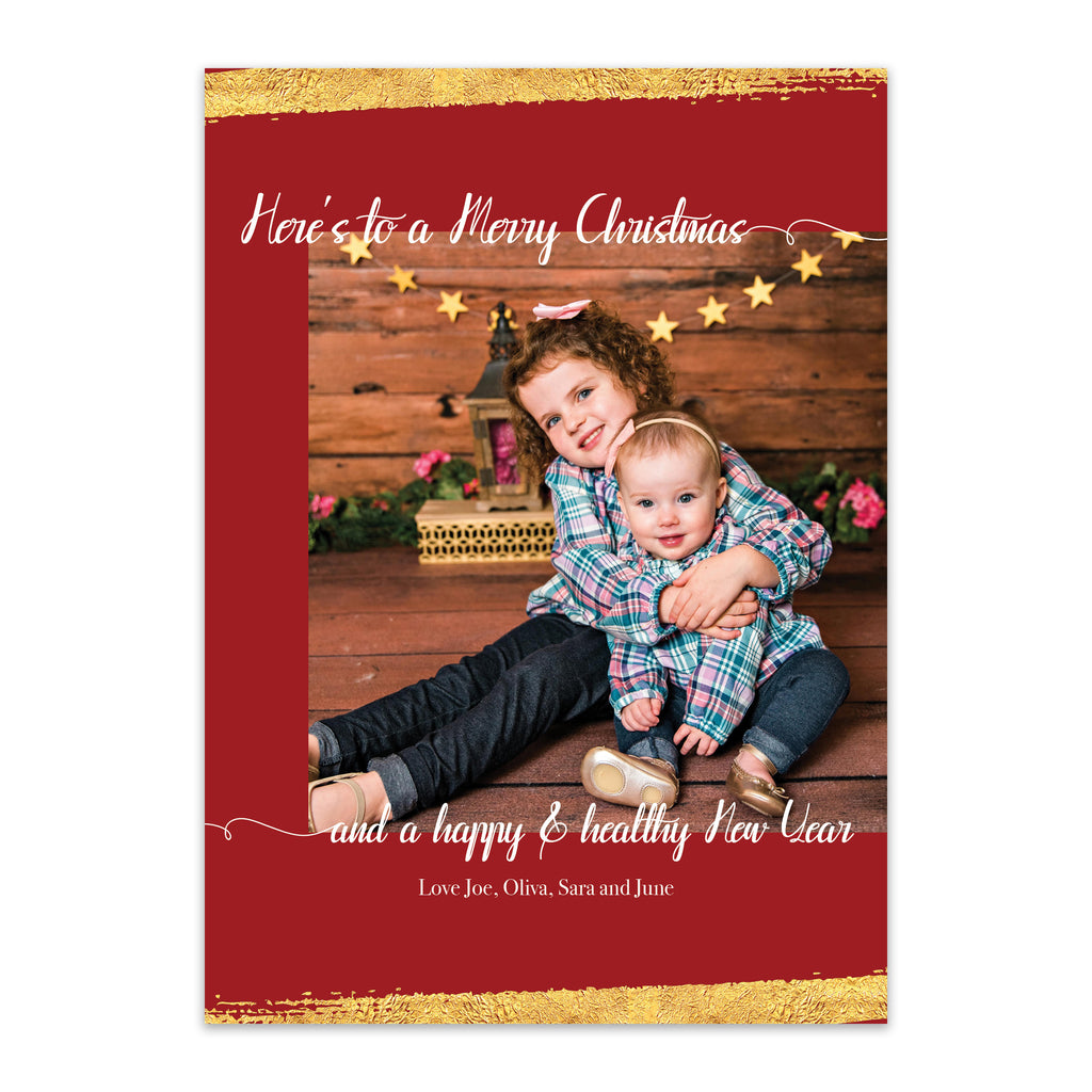 Gold Splatter Photo Holiday Card - Blú Rose Designs