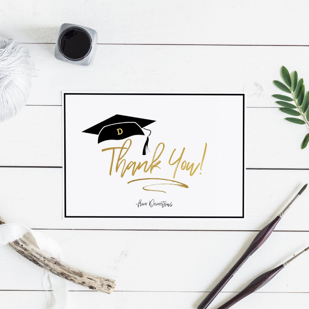 Personalized Modern Grad Cap Thank You Card - Blú Rose Designs
