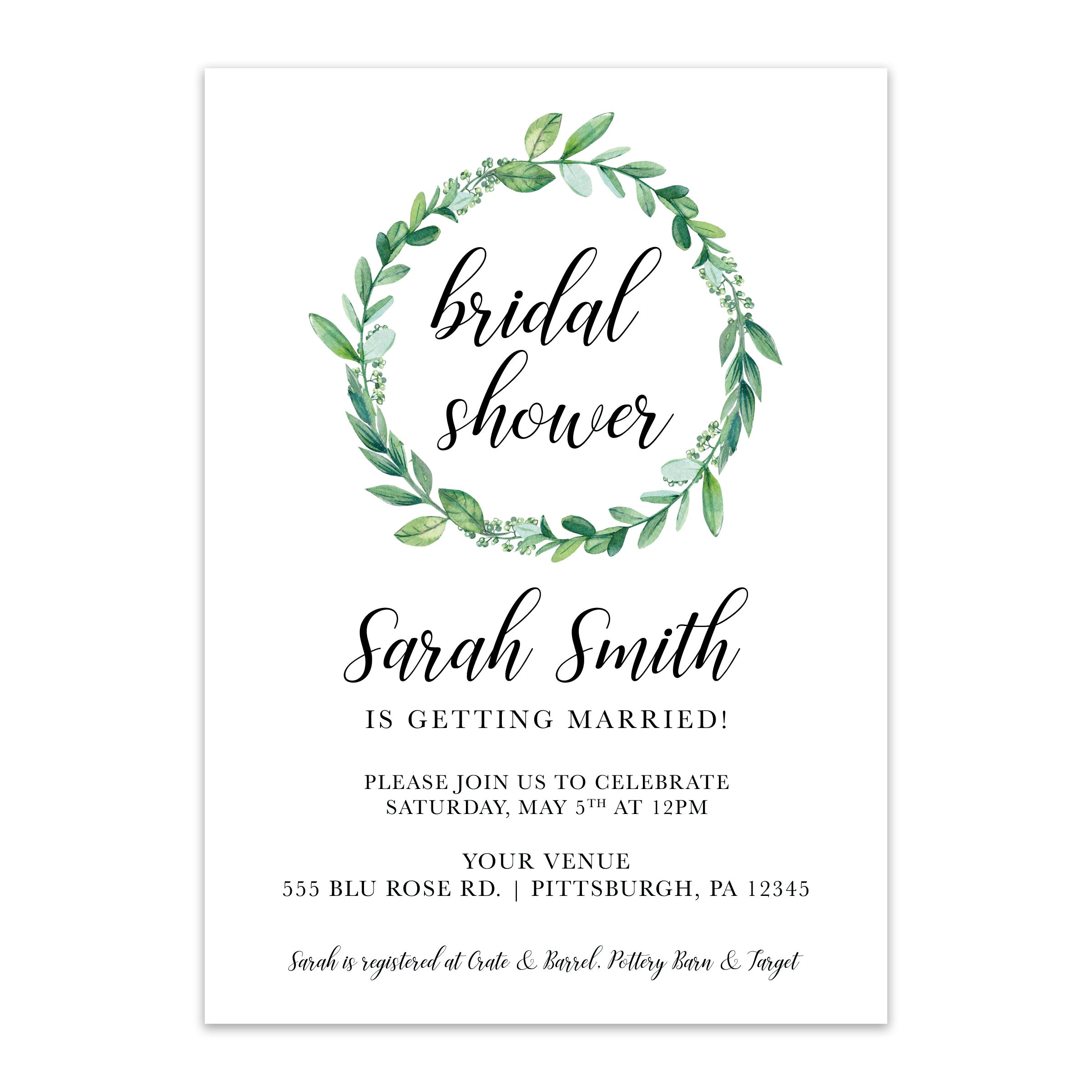 Green Wreath Bridal Shower Invitation - Blú Rose Designs