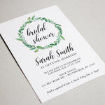 Load image into Gallery viewer, Green Wreath Bridal Shower Invitation - Blú Rose Designs