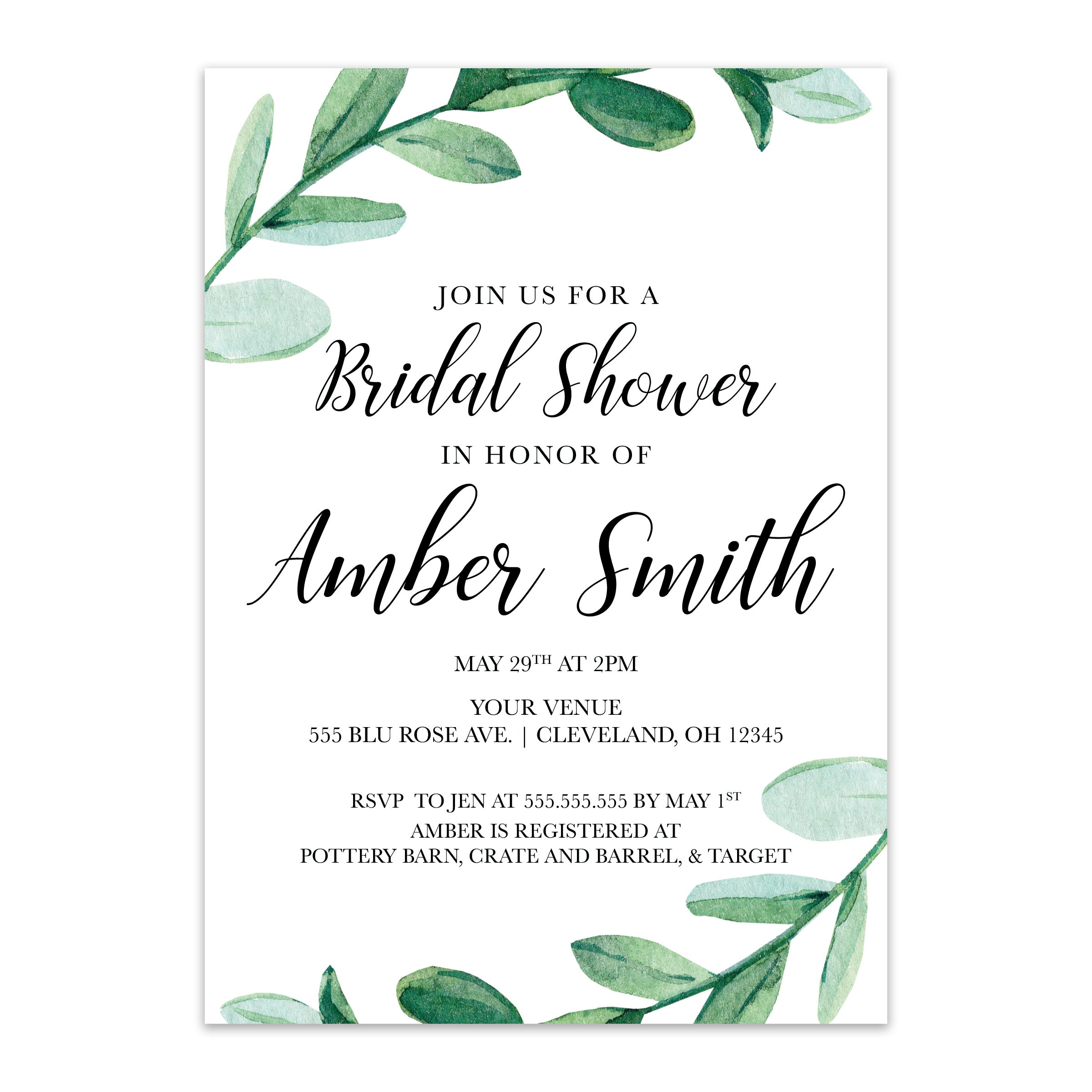 Greenery Bridal Shower Invitation - Blú Rose Designs