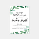Load image into Gallery viewer, Greenery Bridal Shower Invitation - Blú Rose Designs